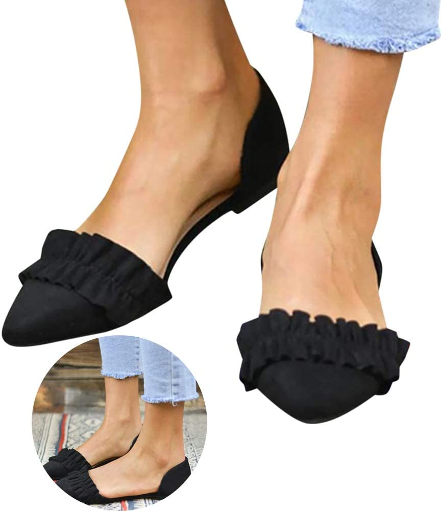 Swiusd Womens Ruffle Loafers Sandals Comfy Non Slip Flat Bottom Sandals Pointed Toe Retro Platform Beach Dance Shoes Clearance