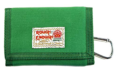 Rough Enough Vintage Green Classic Fancy Minimalist Canvas Wallet Trifold Small Coin Purse Slim Cash Bag Credit Card Holder Organizer Pouch with Zipper Pocket for Kid Boy School Outdoor Travel Sport