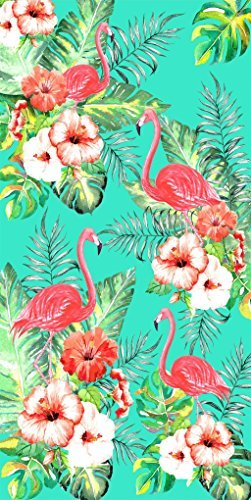 Towels Bath Flamingo - Flamingos and Flowers Velour Brazilian Beach Towel 30x60 Inches
