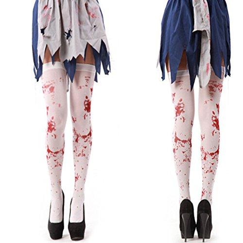 Fuyamp Halloween White Bloody Socks Zombie Nurse Costume