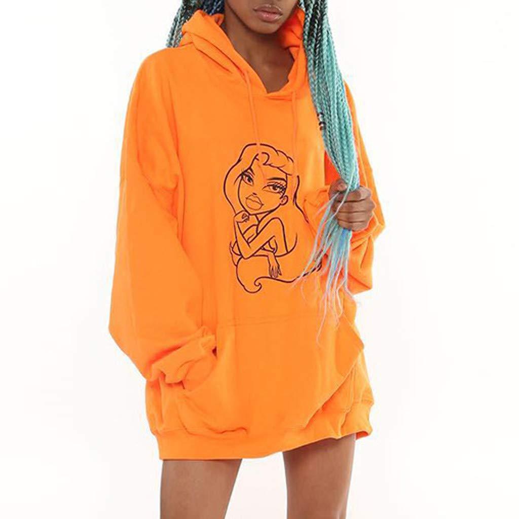Fainosmny Women Hooded Sweater Dress Long Sweater Pullover Coats Tops Cartoon Print Hoodies Streetwear Outerwear Orange by Fainosmny