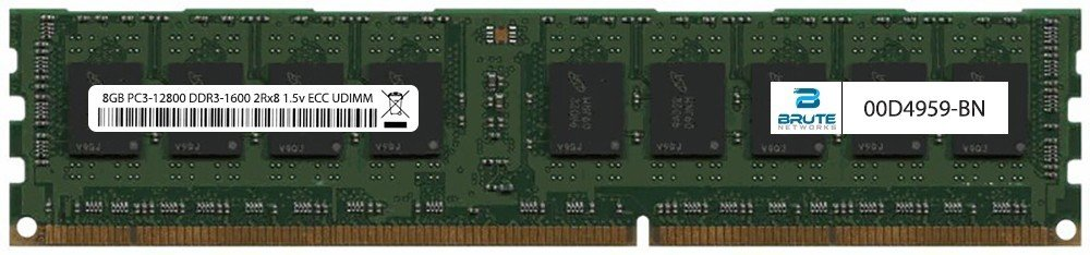 00D4959 - IBM Compatible 8GB PC3-12800 DDR3-1600Mhz 2Rx8 1.5v ECC UDIMM by Brute Networks