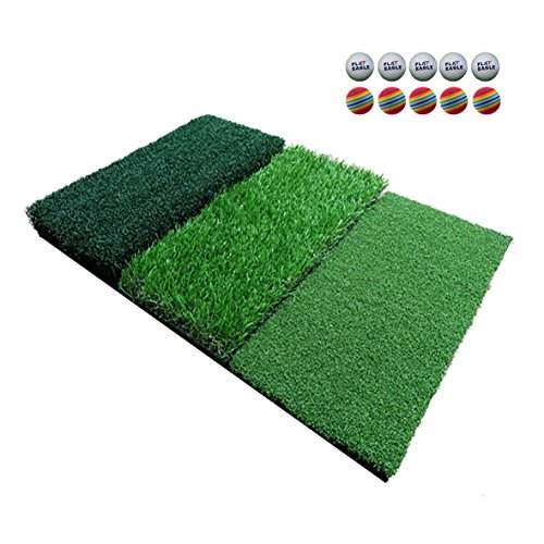 FUNGREEN Mini Golf Practice Hitting Mat 25''x15.7''Tri-Turf Grass Indoor Backyard Golf Pad Residential Golf Hitting Mat for Swing Training Putter Balls by FUNGREEN