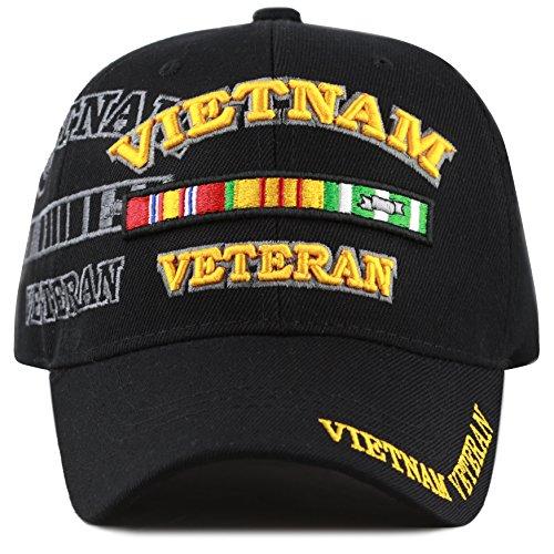 THE HAT DEPOT 1100 Official Licensed Vietnam Veteran Shadow 3D Baseball Cap (Black) ()