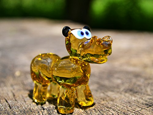 Yellow Glass hippo figurine hippo animals