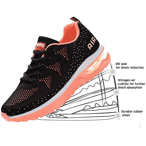 JACKSHIBO Women Lighweight Air Cushion Comfort Running Shoes,Women Blackpink 40