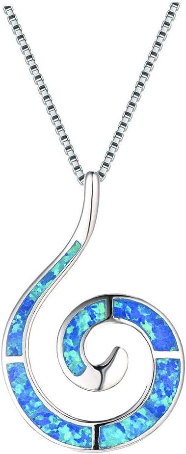 G&UWEI Azul Redondo De Las Mujeres De Creación Ópalo Embutido Espiral del Círculo del Remolino Martillado Colgante, Collar para Las Mujeres De La Novia De Plata De Ley 925,Azul