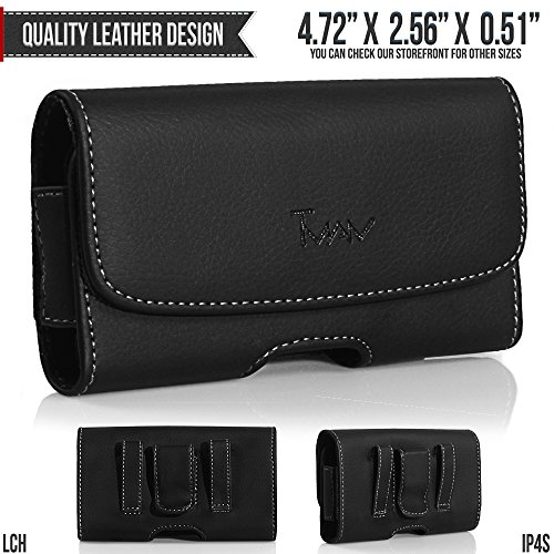 Sidekick Slide Holster - T-Mobile Sidekick Slide Belt Pouch, TMAN [Leather Horizontal] Metal Clip Holster/Magnetic Closure Case, Cover with Belt Loop Carrying Protective - Fits Cellphone without any Case