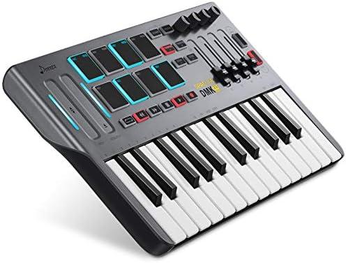 Controlador de Teclado MIDI DMK25, Donner Professional de 25 Teclas Mini USB Beat Pad con 8 Pads de Batería Retroiluminados 4 Perillas 4 Controles ...