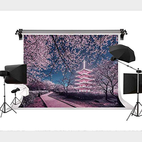 Evening Japanese Cherry Blossom Park Background Photo Photography Backdrop Decoration YouTube Background Can be Customized 9x6FT STS -