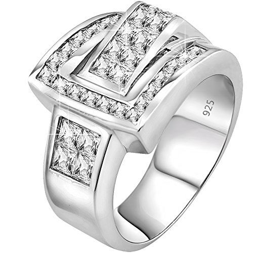 Men's Sterling Silver .925 Ring Featuring 27 Channel and Invisible Set Cubic Zirconia (CZ) Stones, Platinum Plated. By Sterling Manufacturers (Cz Rings That Look Real)