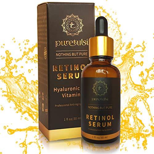 Puretulsi retinol serum Bio Vegan -100% Natürlich mit 2,5% hochdosiertem vitamin A,vitamin C, E und B5,hyaluronsäure, anti-aging, anti-falten, ohne Chemikalien,Parabene,Sulfate und Tierversuch frei