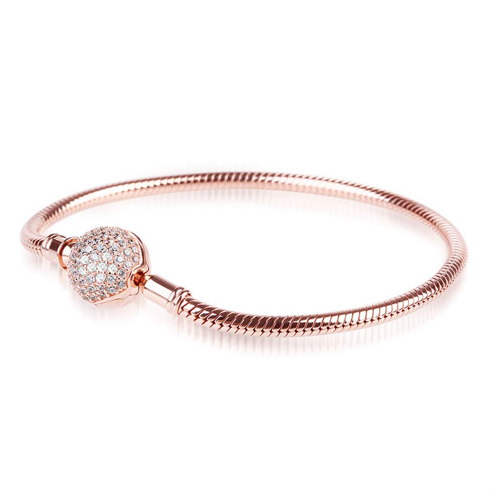 GNOCE ''Endearing Gifts for Her Crystal Round Shape Clasp Bracelet 18K Rose Gold Plated Sterling Silver Bangle Fit All Charms Bead Simple Basic Dainty Bracelet Birthday Gifts (18.0 Centimeters)