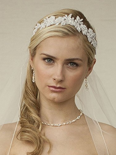 Mariell Handmade White Beaded Lace Bridal Headband - Designer Wedding Headpiece