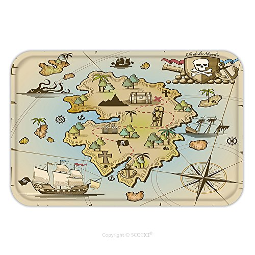 Flannel Microfiber Non-slip Rubber Backing Soft Absorbent Doormat Mat Rug Carpet Pirate Treasure Island Map 343381226 for - Flagship Maps