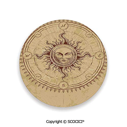 Ceramic Coaster With Cork Mat on the back side, Tabletop Protection for Any Table Type, round coaster,Ancient Decor,Roman Sculpture like Face in Circle like,3.9
