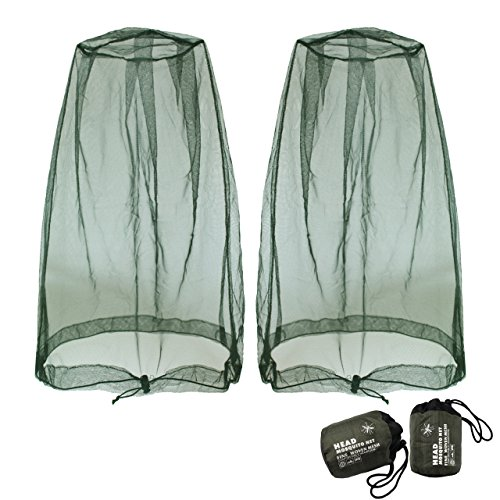 Benvo Head Net Mesh, Protective Cover Mask Face from Insect Bug Bee Mosquito Gnats for Any Outdoor Lover- with Free Carry Bags (2pcs, Olive)