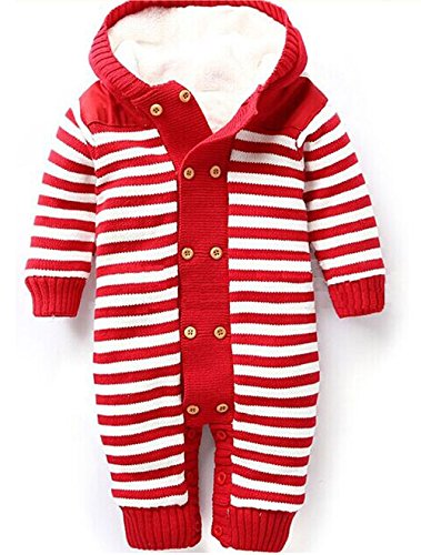 Moraner Winter Wool Double-breasted Children Baby Romper Striped Velvet Leotard Knit Jumpsuit (18month, red)
