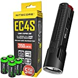 NITECORE EC4S 2150 Lumen high intensity CREE LED tactical die-cast flashlight with 4X EdisonBright CR123A Lithium Batteries bundle