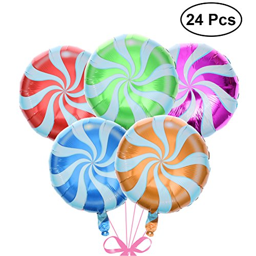 TOYMYTOY 24 pcs 18 inch Colorful Lollipop Balloons Candy Foil Balloons Helium Balloons Wedding Birthday Party Decorations (Mixed Color)