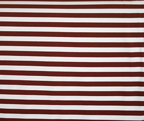 (Knit Brown Stripes 1/2 inch Design Fabric By the Yard, 95% Cotton, 5% Lycra, 60 Inches Wide, Excellent Quality, Medium weight, 4 way stretch (3)