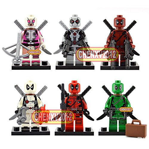 TONGROU 6 Sets/Lot Deadpool Minifigs Green Building Block to