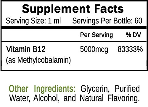 Organic Vitamin B12 Extra Strength 60 x 5000mcg Liquid Drops (Methylcobalamin), w/Natural Cherry Flavor | Designed to Maximize Absorption & Energy | Vegan, Gluten & GMO Free