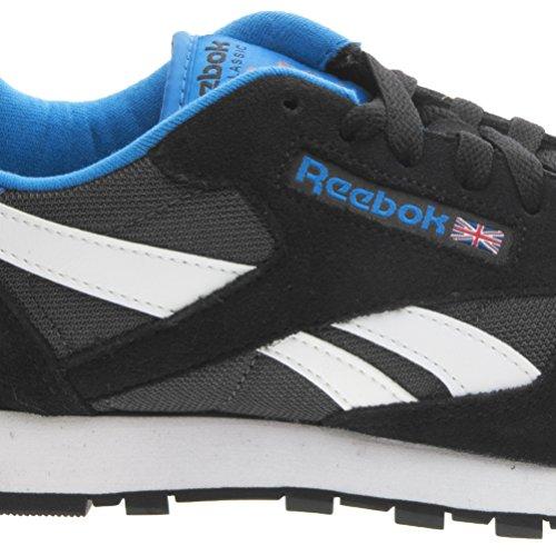 Reebok Classic Sport Clean, Scarpe da Corsa Uomo Nero/Grigio/Bianco/Blu/Arancione (Black/Coal/White/Blue Sport/Bright Orang)