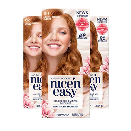 Clairol Nice 'n Easy Permanent Hair Color, 8R Medium Reddish Blonde, 3 Count, Red (Packaging May Vary)