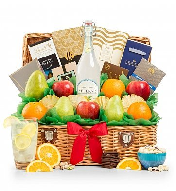 GiftTree Sweet Celebration Fresh Fruit & Premium Snack Food Gift Basket - Premium Gift Basket for Men or Women - Fresh Fruit, Gourmet Chocolate, Premium Snack Food