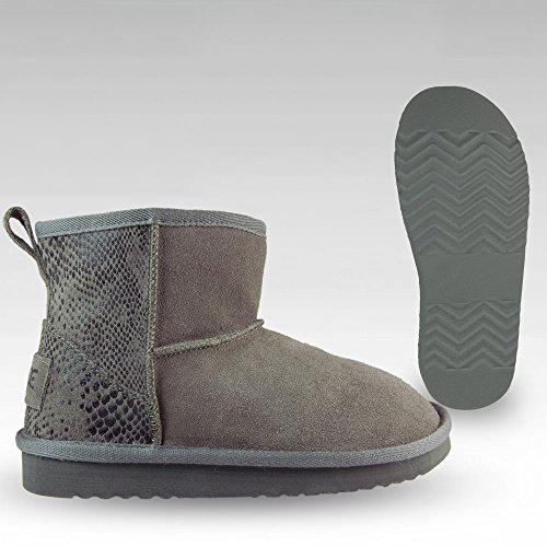 Chaussures Dude Sella Mesdames bottes en daim Piton Gris anthracite