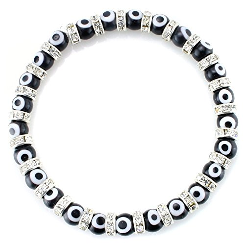 Bracelet Eye Bead (JewelrieShop Turkish Evil Eye Bracelet Murano Glass Beads Beaded Clear Crystal Spacer Bracelet for Women Girls (6mm Black Eye Beads))