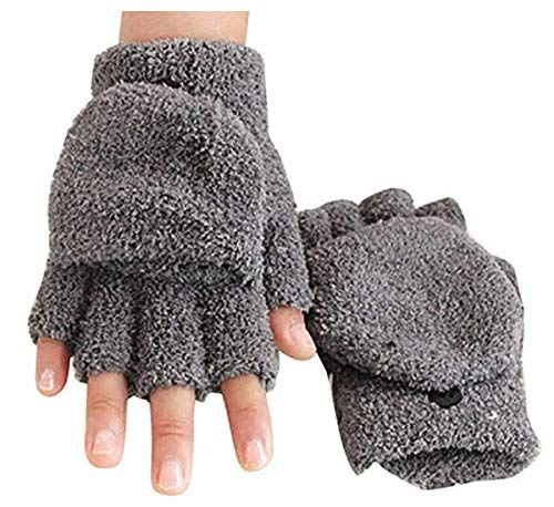 Tmrow Women's Knitted Fingerless Mitten Coral Fleece Gloves with Flip Cover