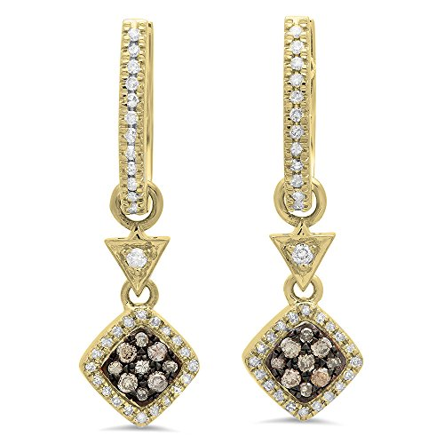 0.50 Carat (ctw) 14K Yellow Gold Champagne & White Diamond Ladies Cluster Dangling Drop Earrings 1/2 CT