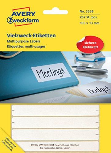 Avery Purpose Form 3338 Multipurpose Labels (Paper matt, 252 Adhesive Labels, 103 x 13 mm) 28 Sheets White ()