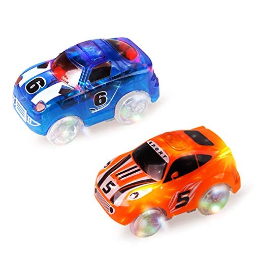 Mini Tudou Magic Tracks Cars 2 Pack, Replacement Race Track Car with 3 LED Lights Glow in Dark Compatible with Most Tracks for Boys and Girls (Blue,Orange)