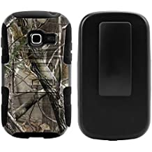 Samsung Galaxy Centura Case, Samsung Galaxy Centura Holster, Two Layer Hybrid Armor Hard Cover with Built in Kickstand for Samsung Galaxy Centura S738C (Striaght Talk, TracFone, Net10) from MINITURTLE | Includes Screen Protector - Nature's Camouflage