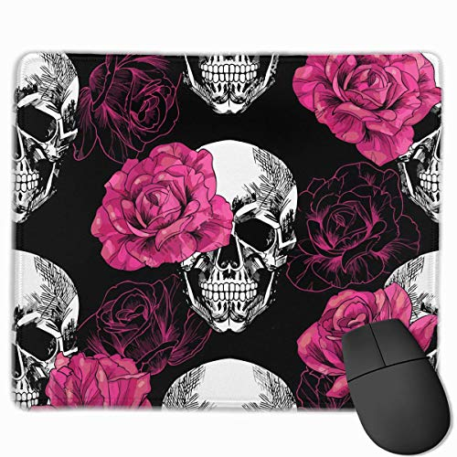 Pink Roses Skull Quality Comfortable Game Base Mouse Pad with Stitched Edges Size 11.81 9.84 Inch]()