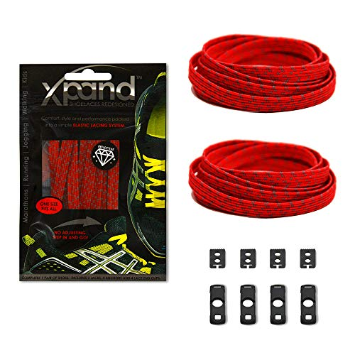 (Xpand No Tie Shoelaces System with Reflective Elastic Laces - Red - One Size Fits All Adult and Kids)