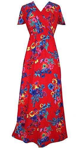 Women Black Summer Dress Maxi Plus Size Graduation Chiffon Gift Long Sleeveless Sexy Floral Sundress (3X, Red/Blue Floral) by MayriDress