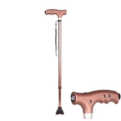 Bâton de marche Béquille pour Old Man Elderly Télescopique Stable Antidérapant Léger Hauteur Réglable avec Led Brun Clair
