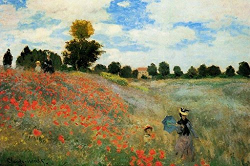 (Claude Monet Poppies at Argenteuil Fine Art Print Poster 24x36 inch)