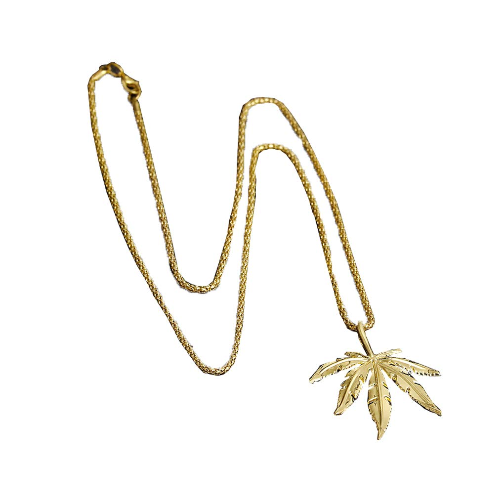 Luckiests Mens Maple Leaf Hip Hop Pendant Necklaces Gold-color Alloy Couple's Necklace Jewelry