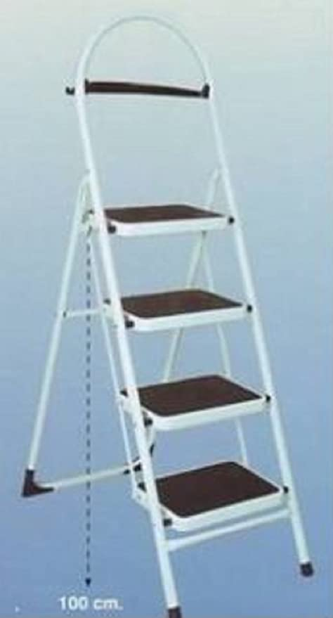 Escalera seguro a 4 peldaños Uso Doméstico con barandilla de seguridad Casa Metal: Amazon.es: Hogar