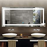 70 x 32 In Horizontal LED Bathroom Silvered Mirror with Touch Button (D-CK010-A)