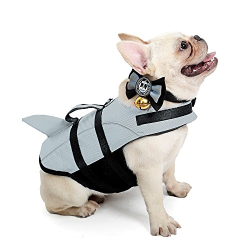 Kimol XS Dog Life Jacket Shark Dog Swimming Vest, Grey
