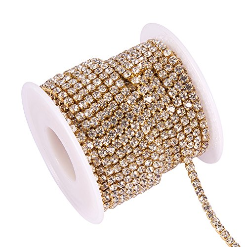 BENECREAT 10 Yard 3mm Crystal Rhinestone Close Chain Clear Trimming Claw Chain Sewing Craft About 2330pcs Rhinestones - Crystal (Gold Bottom)