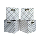 Foldable Baskets Containers with Removable Lid and Handles for Home School Office Foldable Cube Storage Bins - Pack Of 4