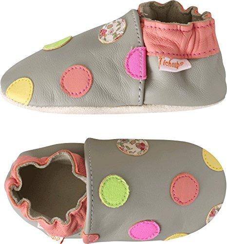 Tichoups chaussons bébé cuir souple sarah les pois