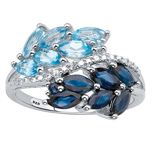 Platinum over Sterling Silver Marquise Cut Genuine Blue Topaz and Sapphire Bypass Ring Size ()